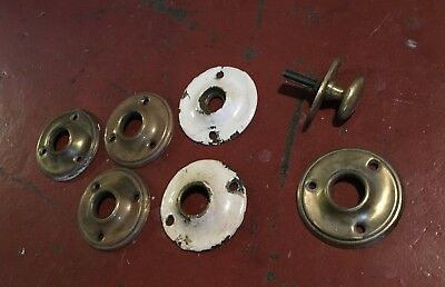 (4) Four Vintage CAST BRASS Round Door Knob Escutcheons Backplate ROSETTE, BONUS