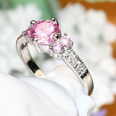 Fine Pink CZ Crystal /Rinestone Lady' Ring Silver Color Women's Ring From 6-10