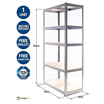 5 Tier EXTRA Heavy-Duty Boltless Shelving Unit - 150 High, 70 Wide, 30 Deep (cm)