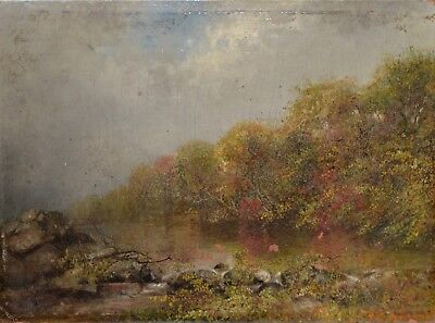 Antique Landscape Oil Painting on Panel Late 19th to Early 20th Century