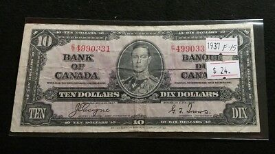 Canada 1937 $10 Dollars George VI Coyne-Towers Very Nice Great Banknote