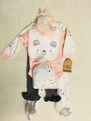 Chick Pea Baby Girl 6 Piece Layette Gift Set Size 0-3 Months Pink Bear Outfit