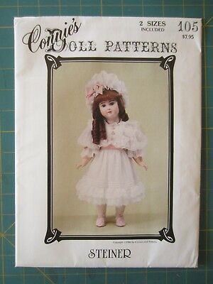 "Connie's Doll Patterns #105, Steiner in Two Sizes, 13"", and 19 1/2 "" New Uncut"