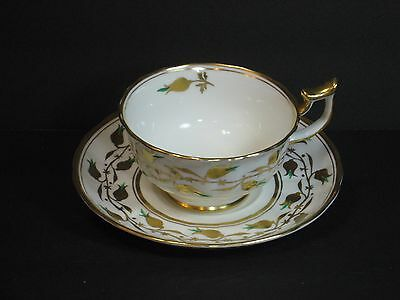 Royal Chelsea Bone China Teacup Cup & Saucer Set, England, Floral, Gold Gilded!