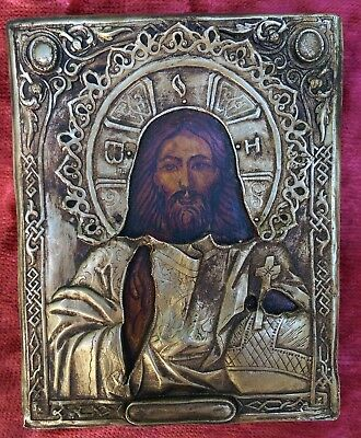 Old Orthodox 19th century silver, hand-painted icon of the Jesus Christ