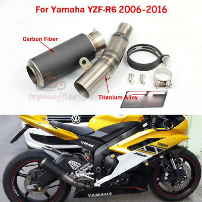 For Yamaha YZF R6 2006-2018 Full Set Exhaust Pipe Slip On Titanium Mid Link Pipe