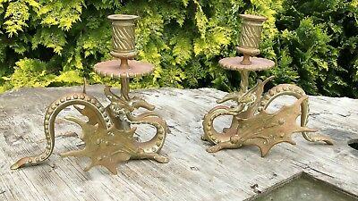 A Beautiful Pair of Vintage Antique Brass Chinese Dragon Candle Holders *