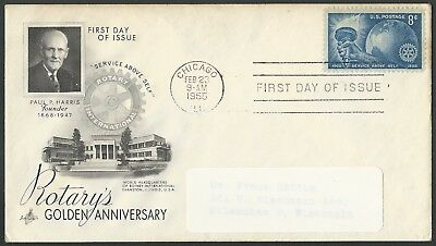 1955 Rotary Club International 50th Anniversary US Stamp First Day Cover + BONUS