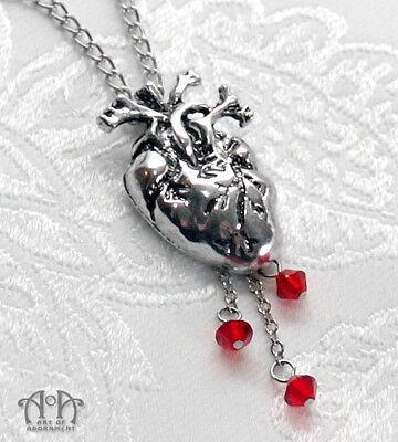 Gothic Vampire ANATOMICAL HEART PENDANT NECKLACE Red Crystal Blood Drops Silver