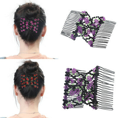 Ladies Beads Stretchy Slide Easy Double Clips Magic Hair Comb Clip Accessories