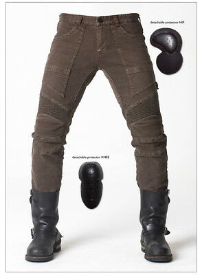 Hot MOTORCYCLE JEANS WITH PAD DENIM BIKER ARMY GREEN MOTO PANTS COMBAT PANTS *
