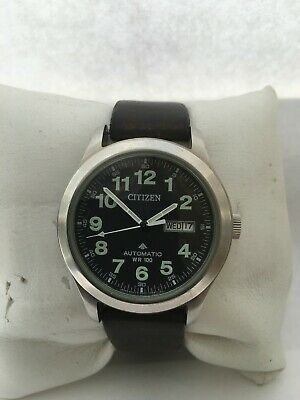 Citizen Men's  Mechanical Automatic Day/Date Arabic Dial 100 MT Leather St Watch