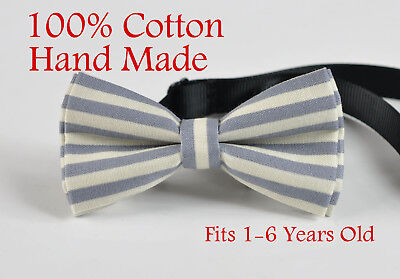 Baby Boy Kids Cotton ELEMENTS STRIPE GREY STRIPES Bow tie Bowtie 1-6Years old