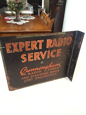 RARE VINTAGE TUBE RADIO ADVERTISING SIGN CUNNINGHAM TUBES RCA FLANGED 1930s