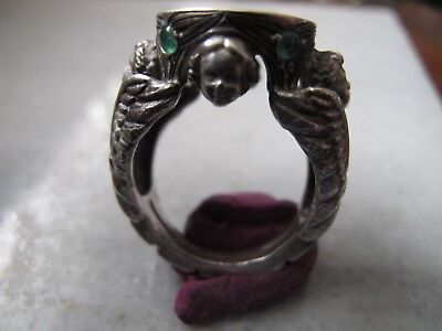 Antique  Pre Georgian Medieval Ancient Silver  ring With Emeralds stone