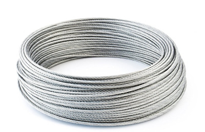5m Lengths of Hi Qual Fibre Core Galvanised Steel Wire Rope 8mm (6 x19) 1960 Mpa