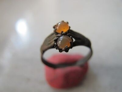 Antique  Medieval Ancient Bronze ring with two carneol stones
