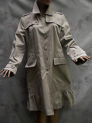 Calvin Klein Beige Cotton Blend Layered Frilled Asymmetrical Closure Trench L