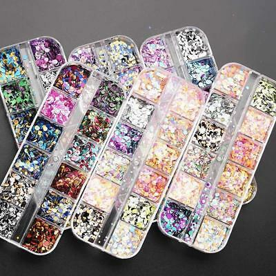 12 Colors/Set Round DIY Sequin Nail Art  Accessories Manicure For Gel Polish.