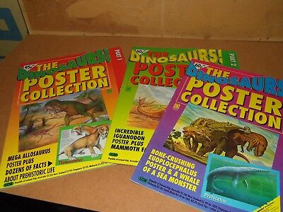 dinosaurs! magazine posters orbis play & learning # 1,2 and 4