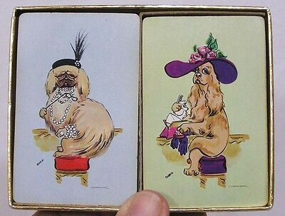 Vintage Double Deck Playing Cards Anthro Lady Dogs Backs Pekingese Spaniel