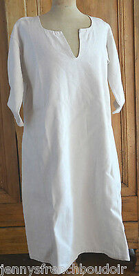 Antique French 19th century hand made rustic linen hemp shift, under garment