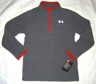 Under Armour UA Fleece Pullover Top 1/4 Zip Boy Size 6 Gray Red NWT LS Shirt NWT