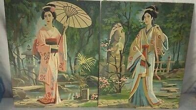2 Vintage Paint By Number Japanese Geisha Artwork Paintings