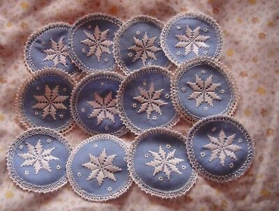 orig Vintage 12  blue linen Coasters/ sm Mats. White embroidery. Ex Con.