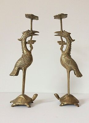 Pair of 12'' Antique Chinese Brass Crane on Turtle Candlesticks