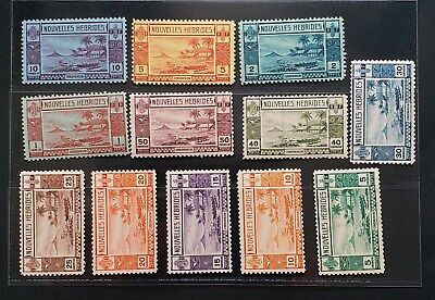 NEW HEBRIDES FR 1938 5c to 10f SG F53 - F64  Sc 55 - 66 Canoe set 12 MLH