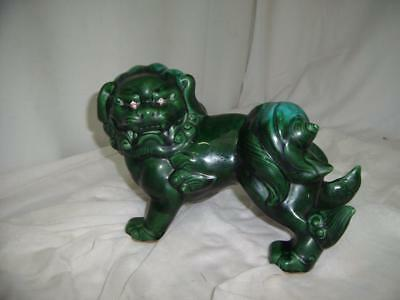 """Vintage Ceramic Foo Dog With Pink Crystal Eyes Green/ Blue Approx. 14"""" X 8"""""""