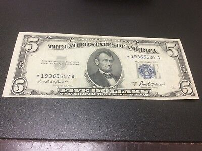 1953-A $5 Five Dollars *star* Silver Certificate Currency Note
