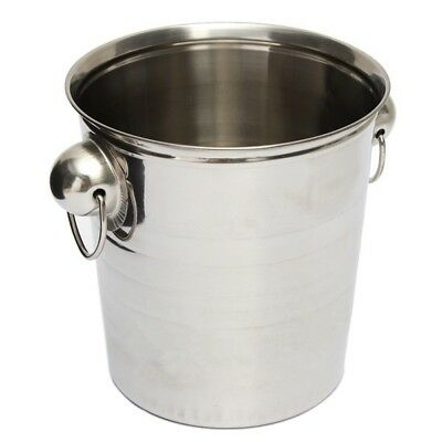 Silver Stainless Steel Ice Punch Bucket Wine Beer Cooler Champagne Cooler P O2V3