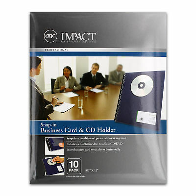 """GBC Impact Snap-In Business Card & CD Holder, 8-1/2"""" x 11"""", Pack of 10 Case Pack"""