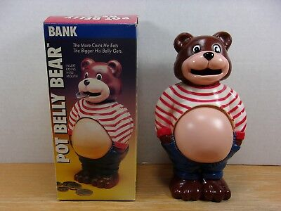 Vintage Pot Belly Bear Novelty Bank His Belly Grows As Your Money Grows In Box