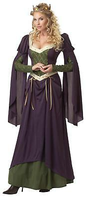 Renaissance Lady In Waiting 2 Pc Purple & Green Dress & Crown Lady's Costume