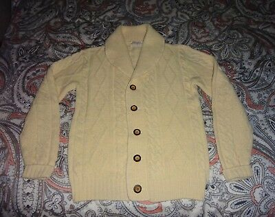 Vintage Lord Jeff Mens Fisherman Cable Knit Shawl Collar Cardigan Sweater Small