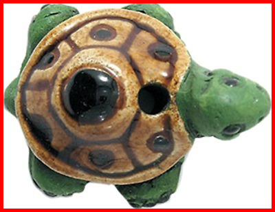 19 By 29Mm Peruvian Hand Crafted LARGE Ceramic Turtle Beads GREEN 3 Per Pack