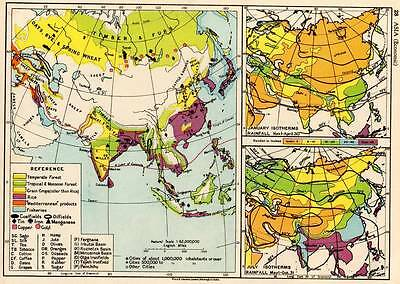 Asia (Economic) 1936 Original Antique Map