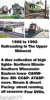 Train DVDs-BEST of 1988-93 4 pack DVDs-over 4 hours of CNW BN SOO ATSF + more