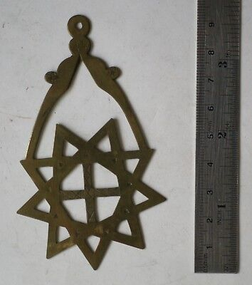 Interesting pseudo masonic collar jewel in brass, 9 pointed star and cross