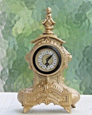 Antique JEFFAM Mechanical CLOCK Metal  GOOD WORKING