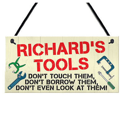 Personalised Tools Rules Man Cave Garage Shed Sign Hanging Plaque Garden Fu M6I5