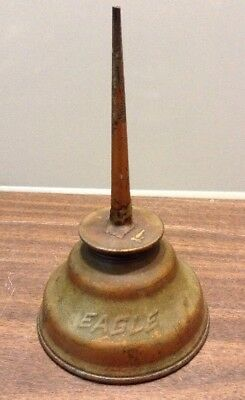 Vtg Eagle Copper Plated Metal Thumb Pump Oil Can With Straight Shaft
