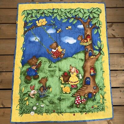 Cute Forest Woodland Animals Tree House Baby Quilt 39 x 32 Blue Green Yellow