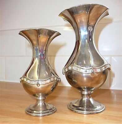 2X Silver Plated Mirai Trumpet Vases Large Glass Stone Diamante Banding Urn
