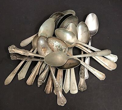 Lot Of 22 Vintage Silverplate Spoons Ornate Handles Great For Art & Crafts