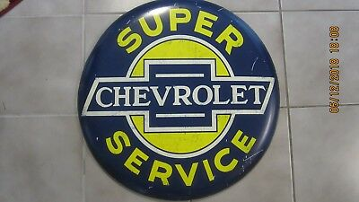 """Large Round 24"""" Chevrolet Service Open Road Metal Replica Sign Man Cave / Garage"""