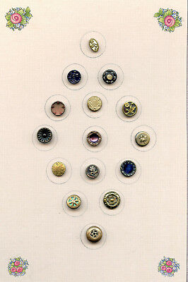15 sm METAL buttons--PERFUME-TINT--MIRROR--CHASED-CELLULOID BKGRND--9/16 to 7/16
